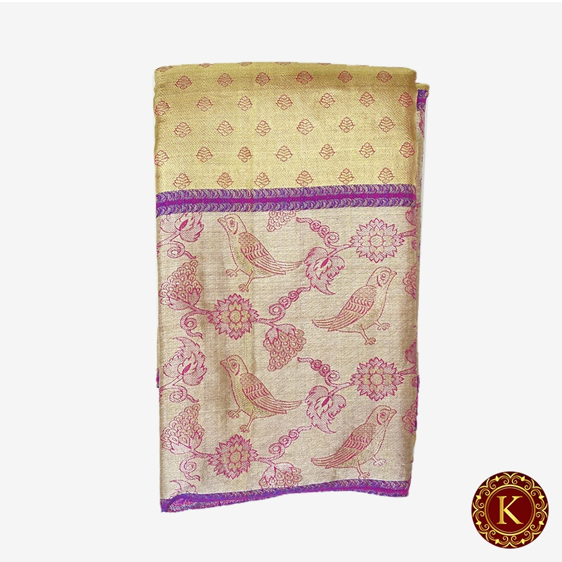 Golden saree with thick border with parrot work