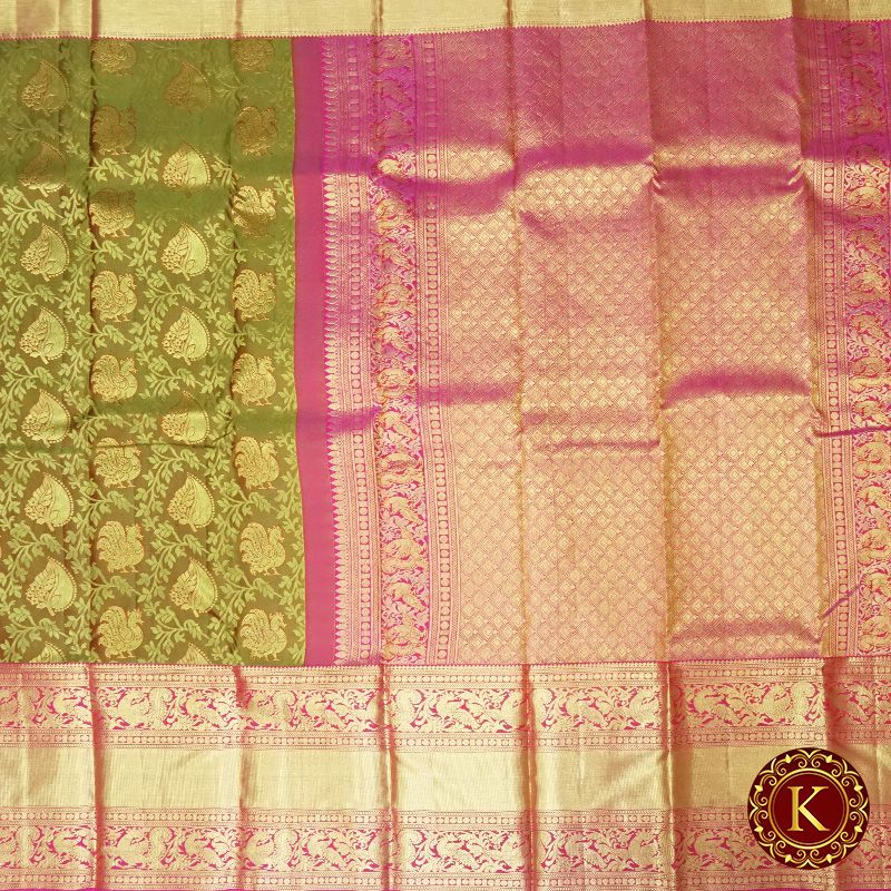 Green leaves with pink border work