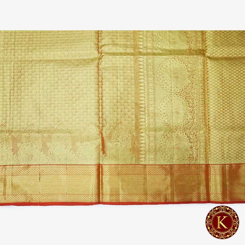 Golden saree with red border